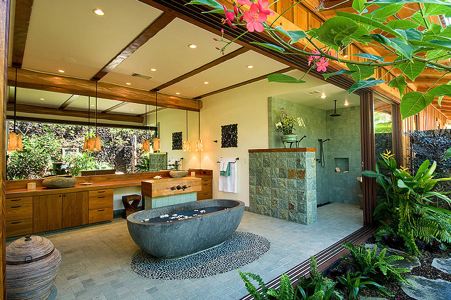Big Island residence open air bathroom