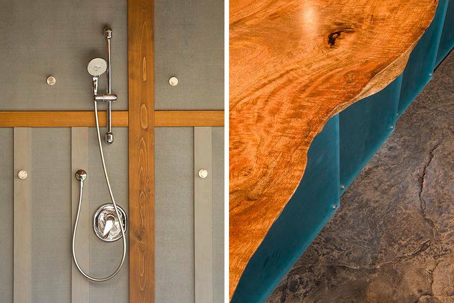 Shower detail—table edge detail