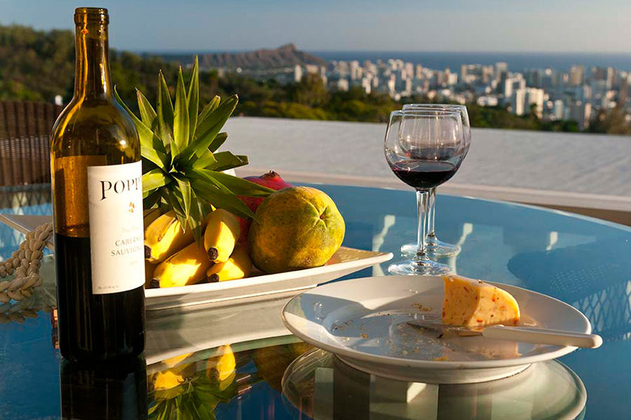 Evening Wine and Fruit with a view of Diamond Head