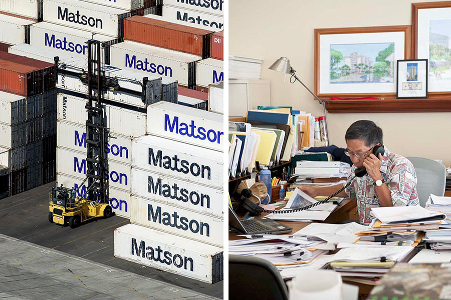 Matson shipping containers and busy executive