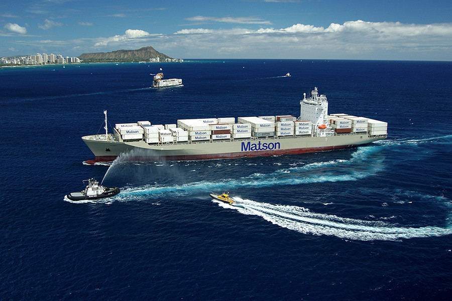 Container ship RJ Pheiffer maiden voyage to Honolulu